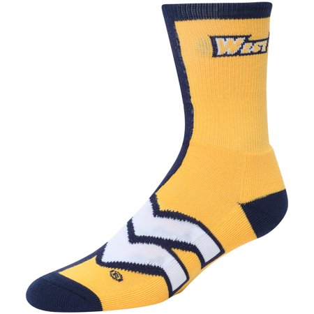 West Virginia Mountaineers Gold For Bare Feet Big Time Crew Socks - 8-12