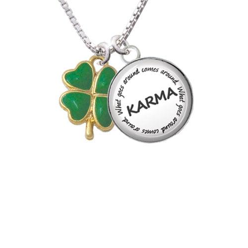 "Opaque Green Lucky Four Leaf Clover Karma Glass Dome Necklace, 18""+2"""