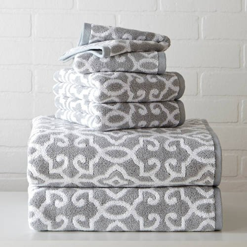 Better Homes and Gardens Thick and Plush Jacquard Bath Collection Bath Sheet, Irongate Soft Silver/Arctic White