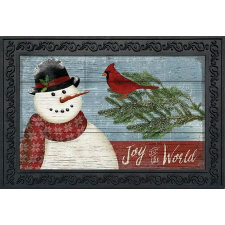 Joy to the World Snowman Christmas Doormat Primitive Indoor Outdoor 18