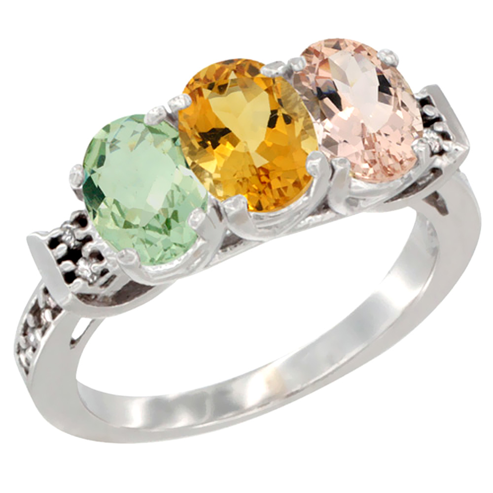 10K White Gold Natural Green Amethyst, Citrine & Morganite Ring 3-Stone Oval 7x5 mm Diamond Accent, sizes 5 10 by WorldJewels