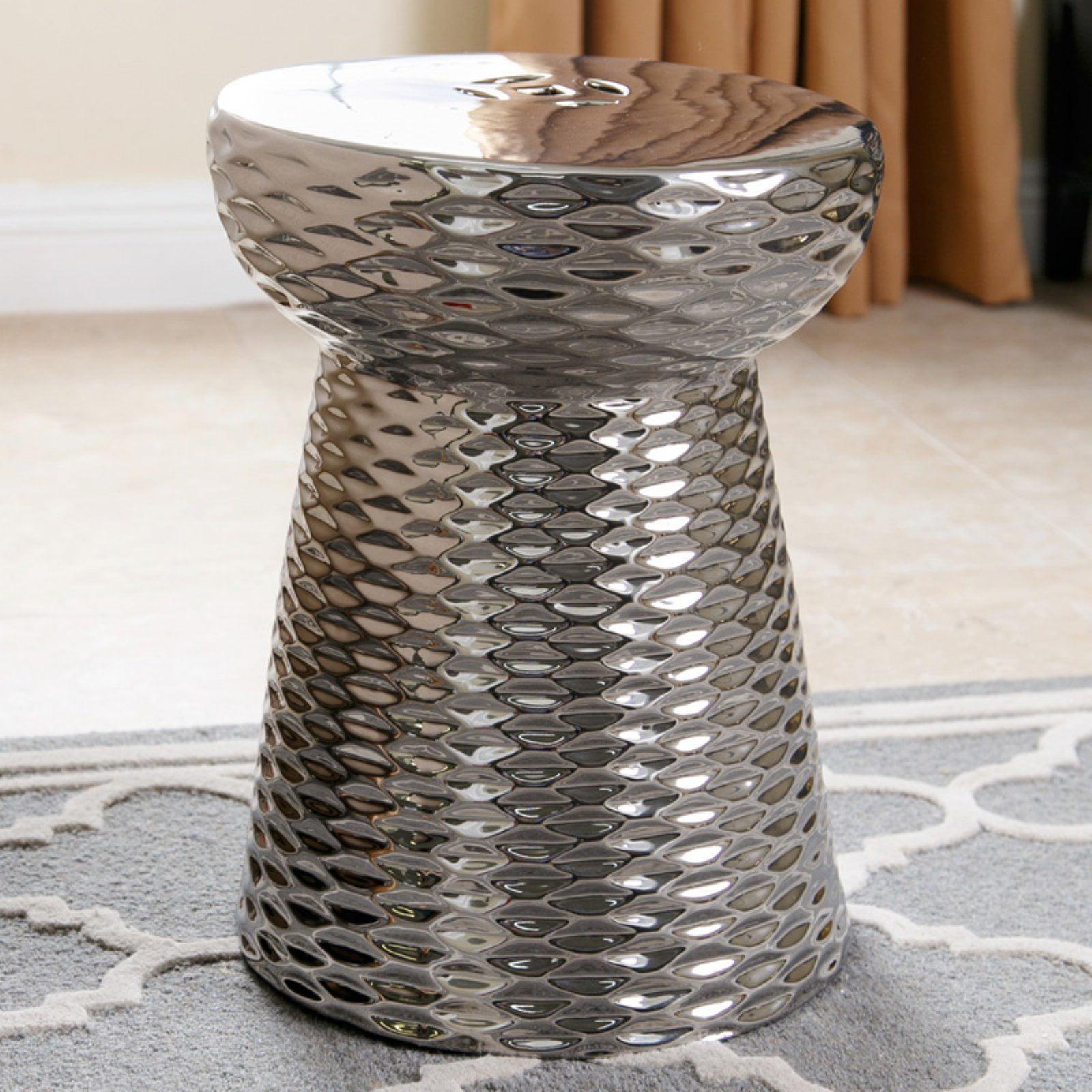 Abbyson Hannah Silver Chrome Ceramic Garden Stool