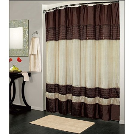 Kashi Home Ibiza Shower Curtain 70x72, Brown Ivory (Curtain Shower Brown)