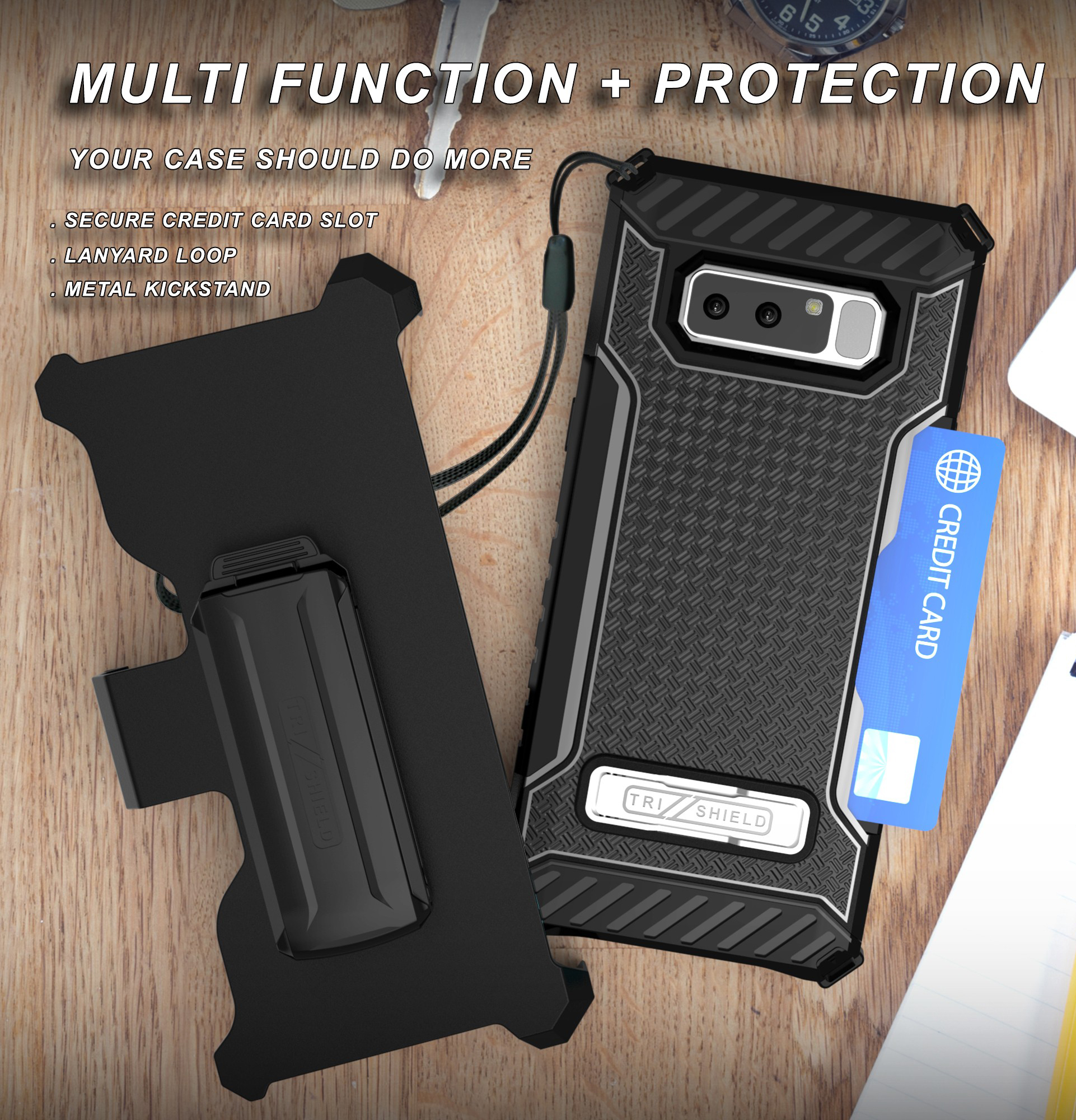 pretty nice 87778 370e7 Note 8 Clip Case, Tri-Shield Rugged Case Cover [with Belt Hip Holster +  Magnetic Kickstand and Credit Card Slot] for Samsung Galaxy Note 8, SM-N950  ...