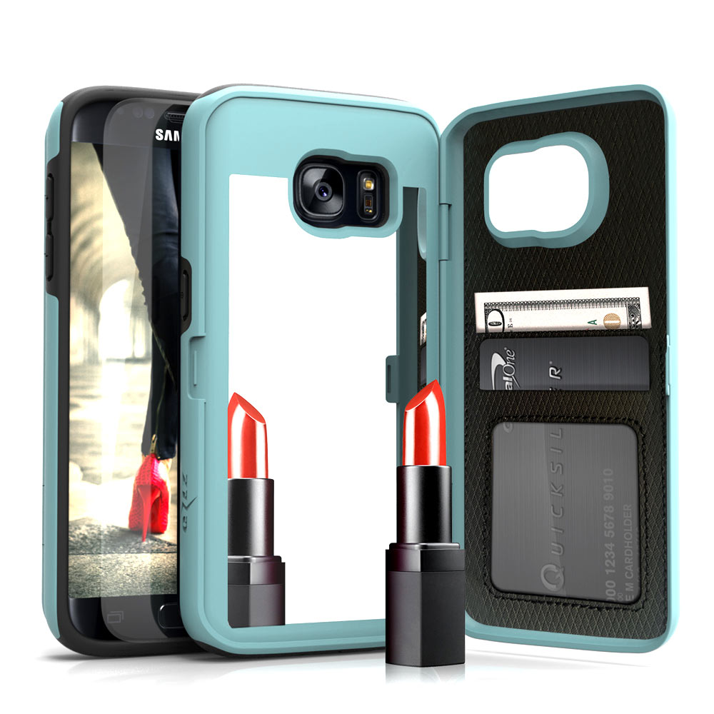 Samsung Galaxy S7 Case, [Vettore by Zizo] All-in-One Wallet Case with [Galaxy S7 Screen Protector] Built-In Mirror and [Kickstand] - Galaxy S7 G930
