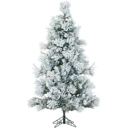 Fraser Hill Farm Pre-Lit 12' Flocked Snowy Pine Artificial Christmas Tree, Multi-Color LED Lighting