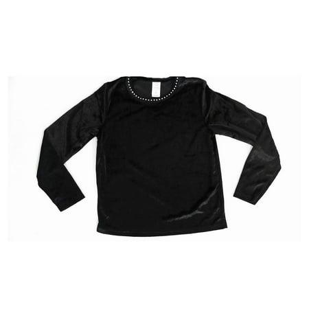 Designer Black Velvet Jeweled Rhinestone Neck Dressy size 10/12 Top Girls Blouse Solid Long Sleeve Kids Childrens Fashion Sale (Do Designer Stores Have Black Friday Sales)
