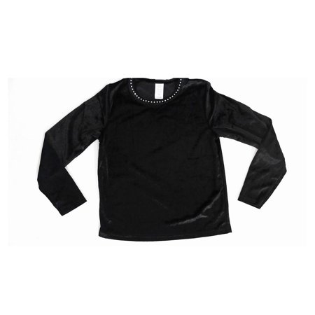 Designer Black Velvet Jeweled Rhinestone Neck Dressy size 10/12 Top Girls Blouse Solid Long Sleeve Kids Childrens Fashion Sale 2225