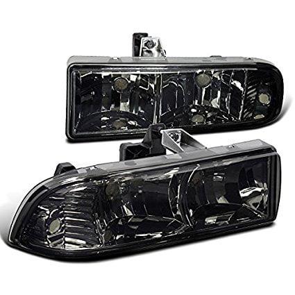 Spec-D Tuning LH-S1098G-RS Chevy S10 Pickup Blazer Crystal Smoke Tint Headlights Head Lamps