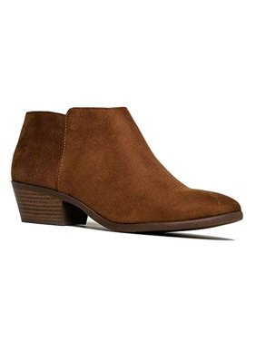 fafcb9c21014 Product Image Soda Western Ankle Boot- Cowgirl Low Heel Closed Toe Casual  Bootie Cognac (5.5)
