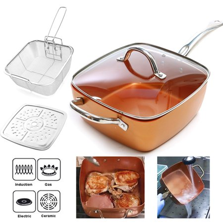 4 Piece Copper Square Induction Pan Glass Lid Fry Basket Steam Rack for Chef