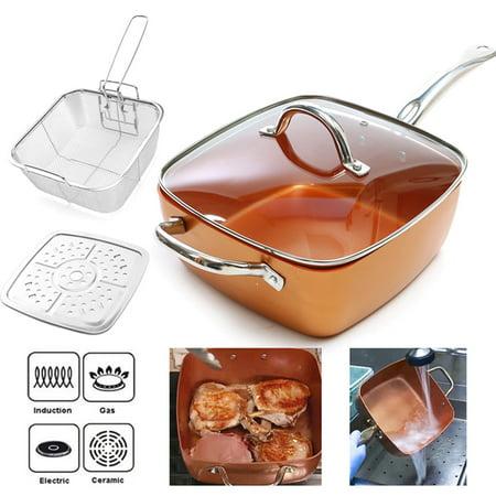 Moaere 21 Quot Nonstick Copper Square Pan Chef 4 Piece Set Fry