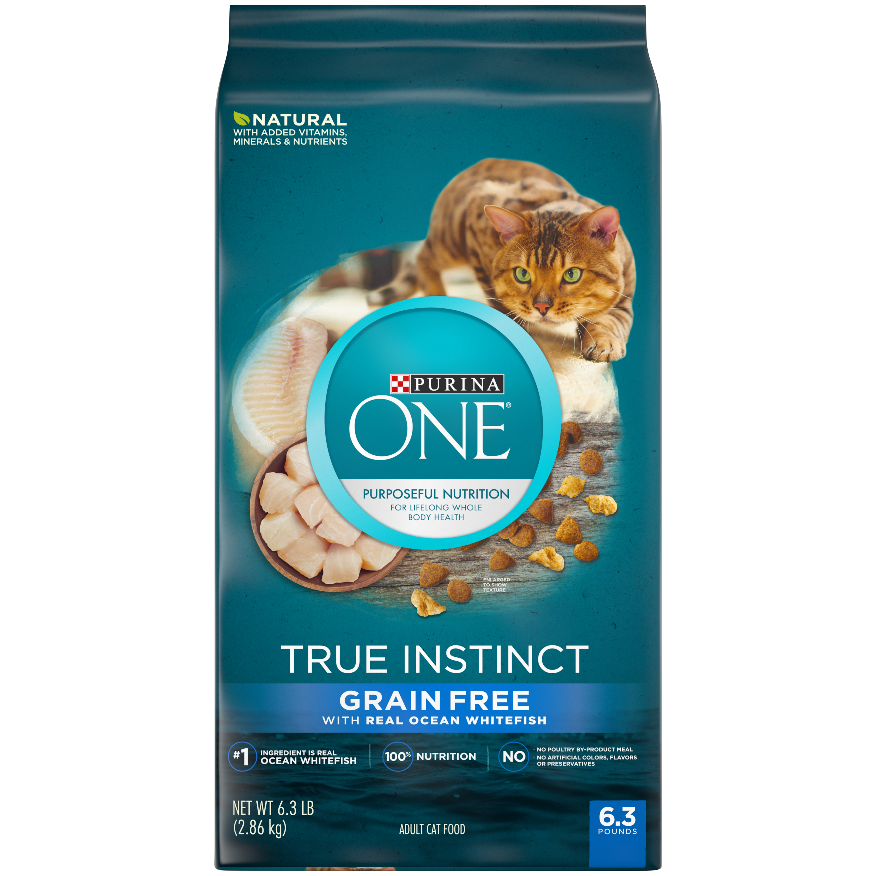 Purina ONE Natural, High Protein, Grain Free Dry Cat Food; True Instinct With Real Ocean Whitefish - 6.3 lb. Bag