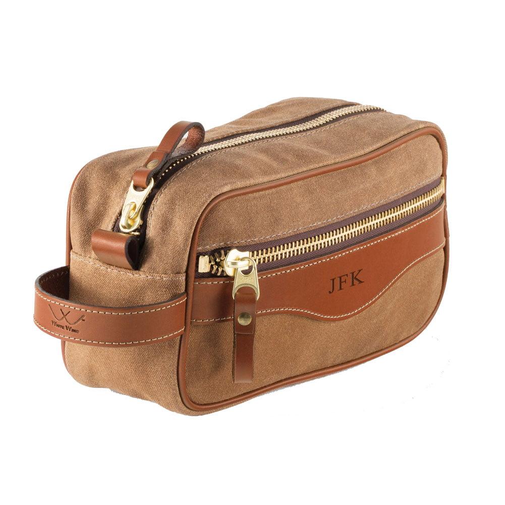 Men's Leather Shave Kit - Chestnut Leather Trim Zip Bag