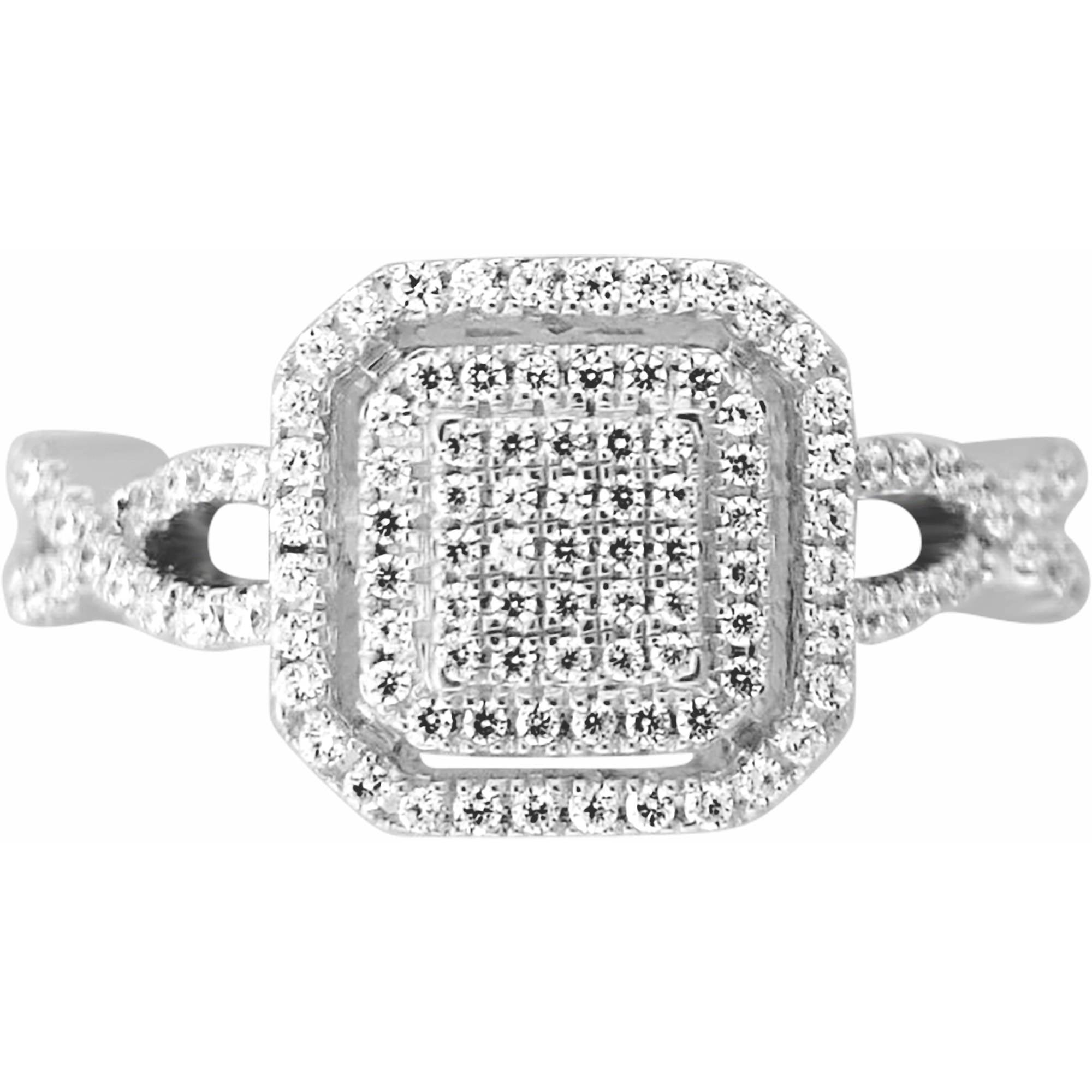Carina 1/2 Carat T.W. Square Diamond Sterling Silver Cluster Fashion Ring