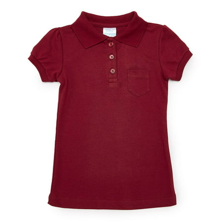unik Girl Uniform Polo Shirt with Pocket, Burgundy Size 10 (Girls Size 10 Crop Top)