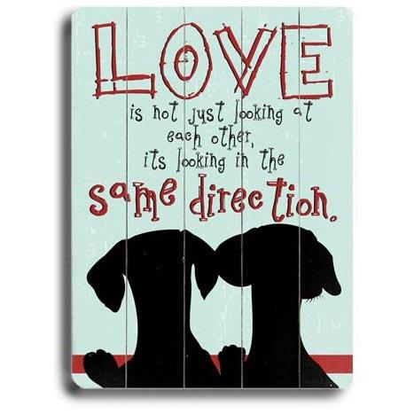 "ArteHouse Decorative Wood Sign ""Same Direction Dogs"", 12"" x 16"", Planked Wood"