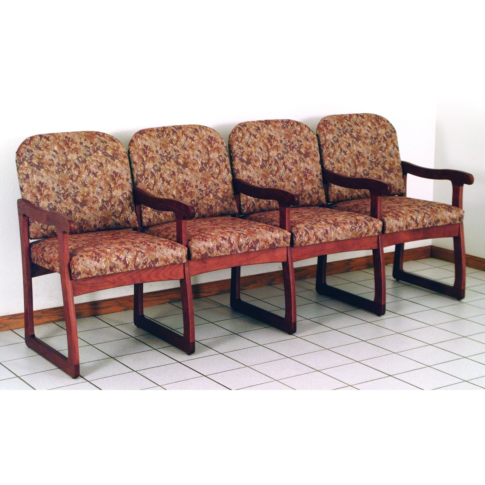 Wooden Mallet DW7-4 Solid Oak Sled Base 4-Seat Chair with Center Arms