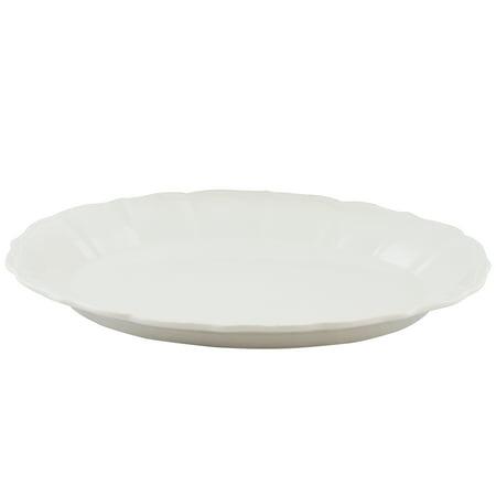 Gibson Home Café Posh Oval Durastone Embossed Platter in White (Gibson China Platter)