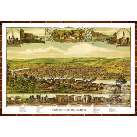 Ted's Vintage Art Map of New Brighton, PA 1883; Old Pennsylvania Decor 24