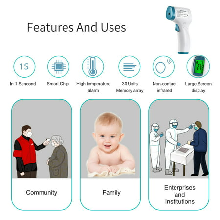 Digital Forehead Thermometer Non-contact Infrared Temperature Measurement with Color Backlight for Kids Children and Adults - image 3 de 7