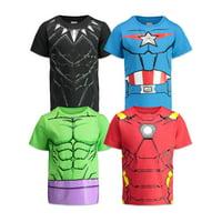 Marvel Avengers Boys 4 Pack T-Shirts Black Panther Hulk Iron Man Captain America 2T