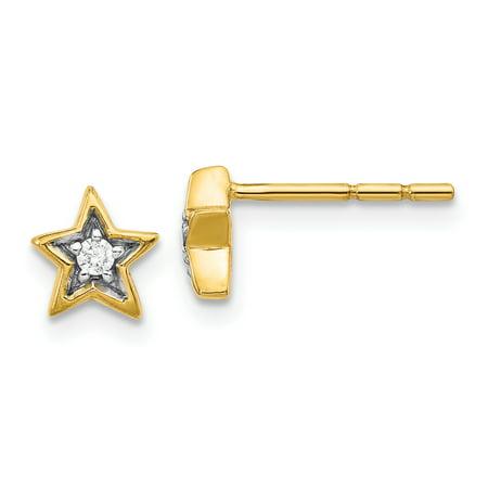 14 Karat Yellow Gold Diamond Star Post Earrings 14k Gold Post Nautical Earrings