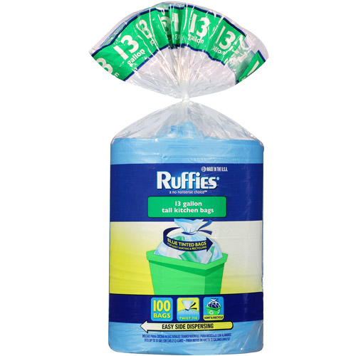 Ruffies Tall Kitchen Trash Bags, Blue, 13 gal, 100 count