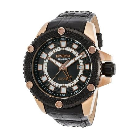 Invicta Men's 48mm Speedway GMT Date Leather Strap Stainless Steel Watch 19305 Invicta Gmt Watch