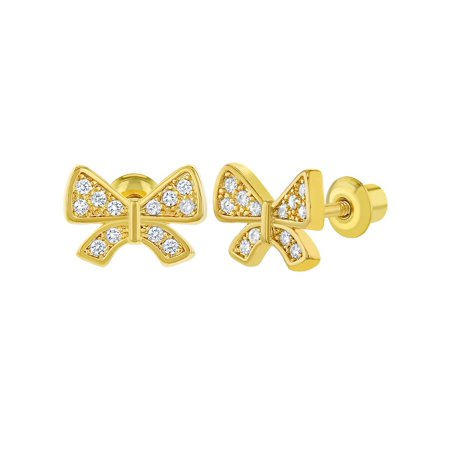 18k Gold Plated Micro Pave White CZ Screw Back Bow Girls Earrings 10mm