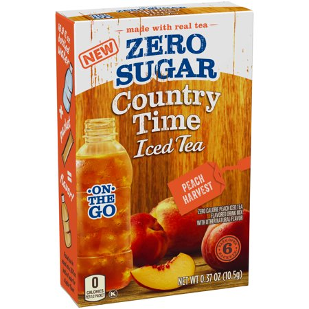 (4 Pack) Country Time On-the-Go Zero Sugar Peach Harvest Iced Tea Drink Mix, 6 count Box