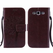 Galaxy S3 S III Case, Samsung Galaxy S3 Phone Cases, Allytech [Embossed Cat & Tree] PU Leather Wallet Case Folio Flip Kickstand Cover with Card Slots for Samsung Galaxy S3 III I9300, Coffee