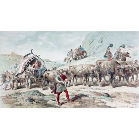 Nervian Cart Drawn By Oxen After A Watercolour By A Heins From Cortege Historique Des Moyens De Transport Published Brussels 1886 Canvas Art - Ken Welsh Design Pics (38 x 20)
