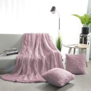 Faux Fur Plush Decorative Throw Blanket with 2 Plush Pillow Covers Dark Pink
