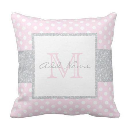 Cushion Polka - ARTJIA Gray Monogrammed Monogram Grey Pink Polka Dot Baby Name Pillowcase Cushion Cover 18x18 inches