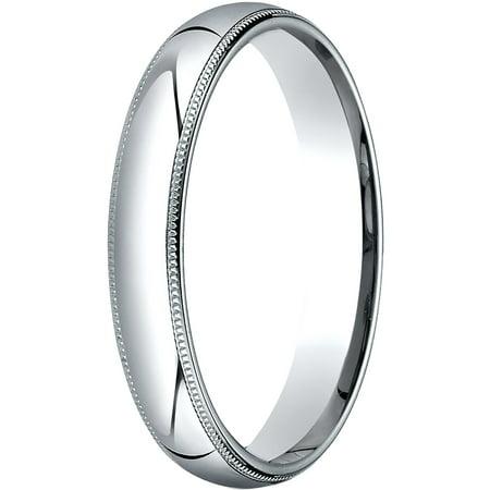 Womens 14K White Gold, 4mm Slim Profile Comfort-Fit Wedding Band with Milgrain