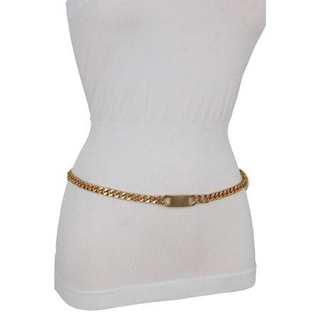 Women Gold Metal Chain Links Classy Charm Buckle Belt Hip Waist