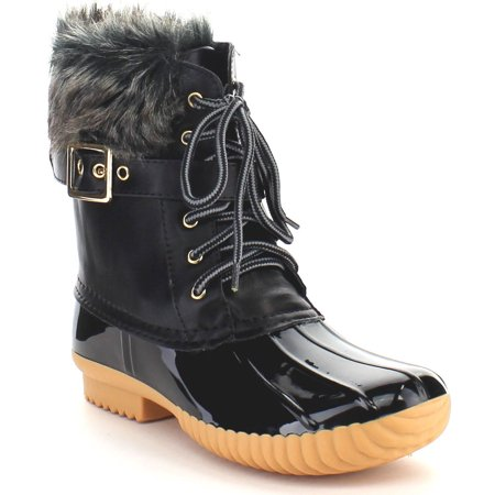 NATURE BREEZE DUCK-01 Women's Chic Lace Up Buckled Duck Waterproof Snow Boots (Girls Brown Cowgirl Boots)