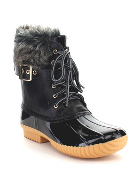 9089ba0eeb9d Product Image NATURE BREEZE DUCK-01 Women s Chic Lace Up Buckled Duck  Waterproof Snow Boots