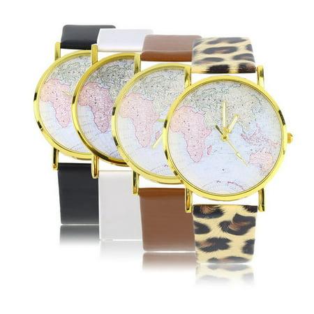 Fashion Womens Leather Alloy World Map Globe Analog Quartz Retro Wrist Watch - image 5 de 8
