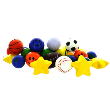 Ball Party Favors - Stress Ball Toy Assortment Lot of 25 Squeezable Relief Party Favors