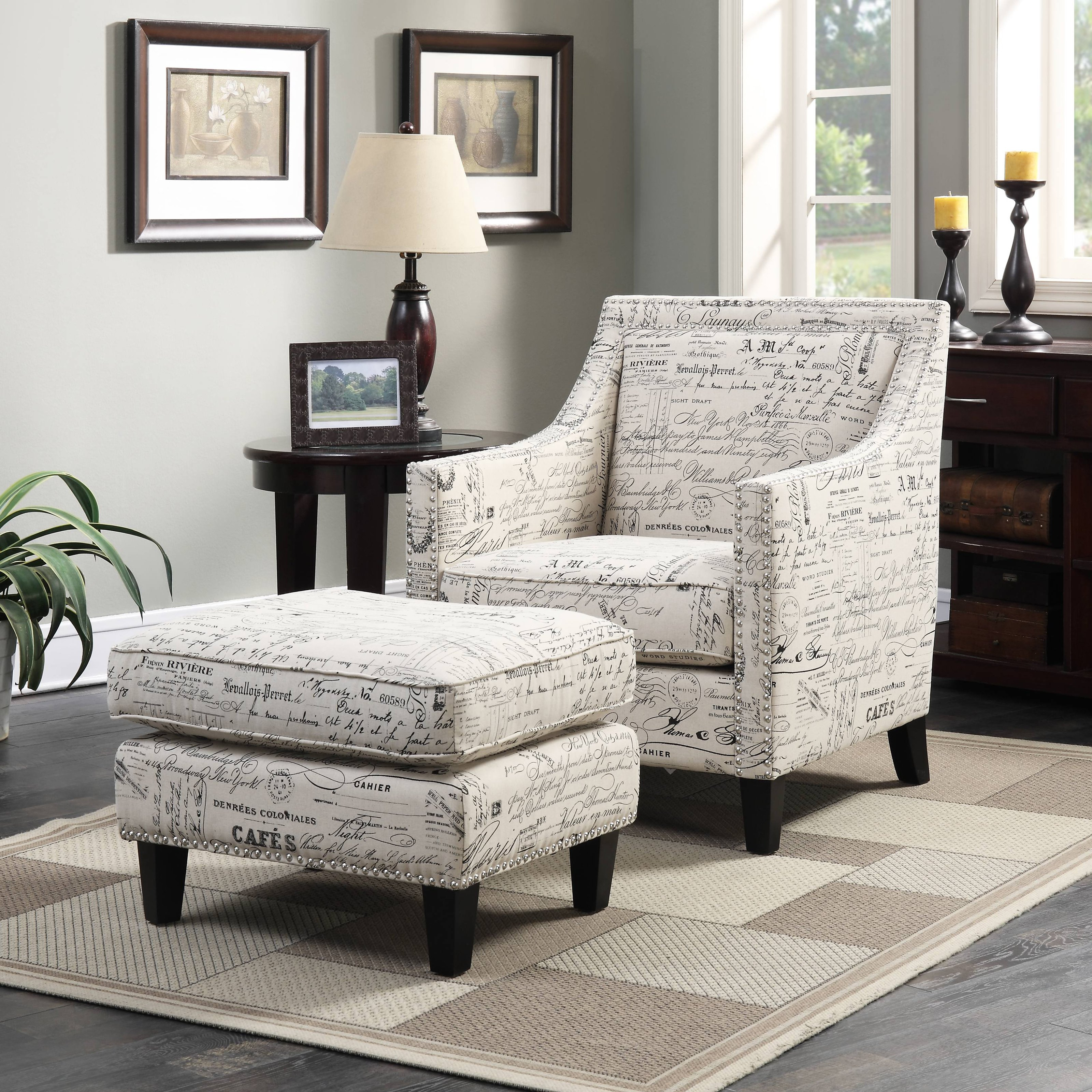 Picket House Emery Accent Chair and Ottoman Set - French Script