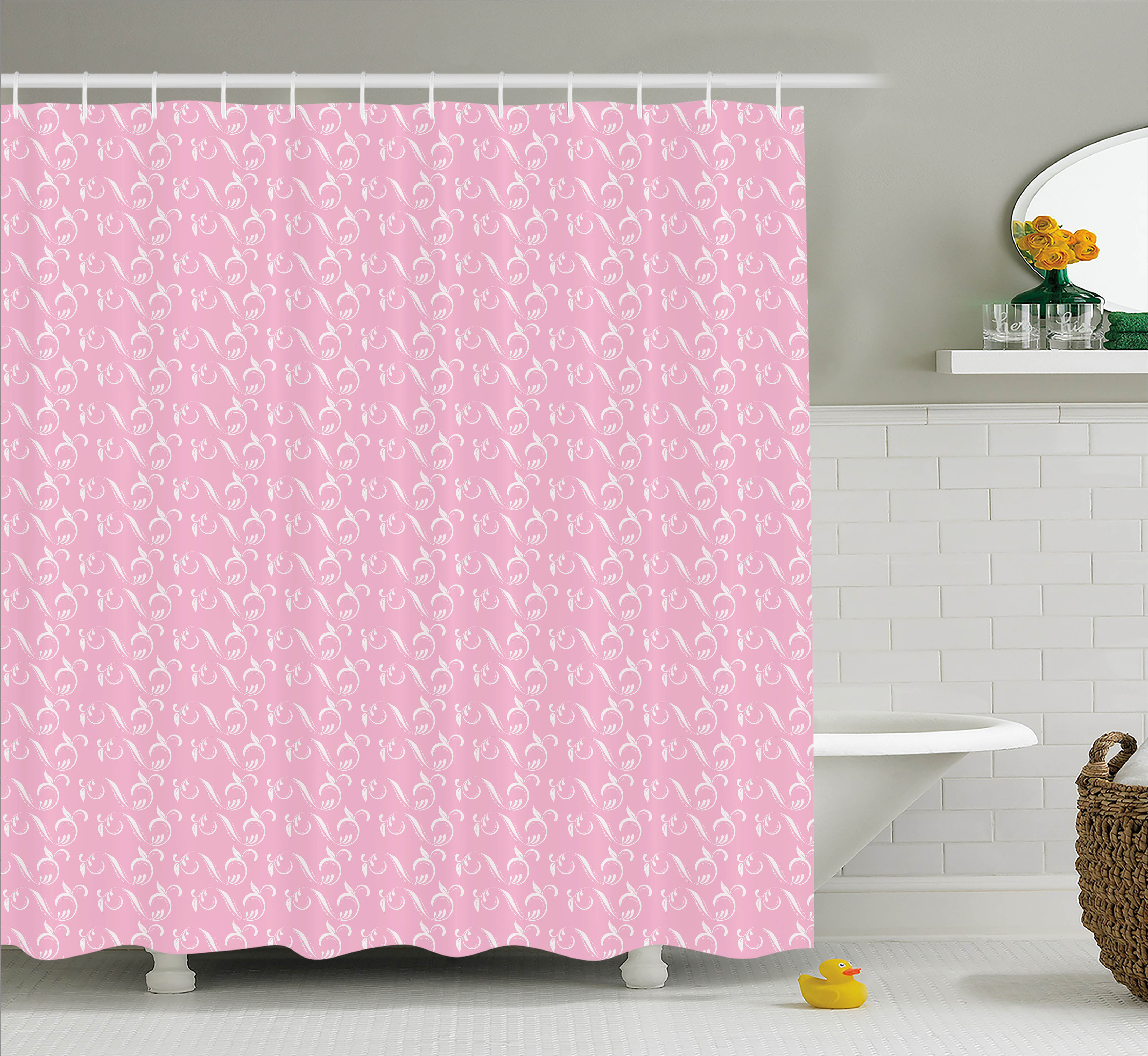 Floral Shower Curtain, White Artistic Leaves with Ornaments on Pink Background Wavy Pattern Artwork, Fabric Bathroom Set with Hooks, 69W X 75L Inches Long, Pale Pink White, by Ambesonne