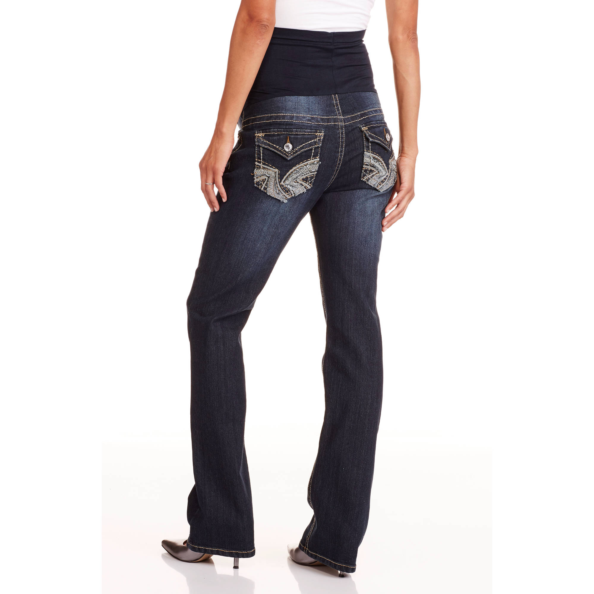 Denim Diva Maternity Full Panel Stitch Embellished Flap Pocket Bootcut Jeans