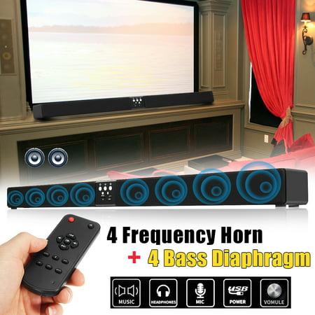 5.1 Channel 60W Wireless Remote bluetooth Speaker HIFI Soundbar 3D Surround Sound Home Theater 4 Frequency Horn + 4 Bass Diaphragm