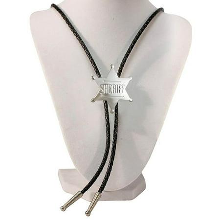 Beaded Silver Bolo Tie (Silver Tone Sheriff Badge Western Bolo Tie)
