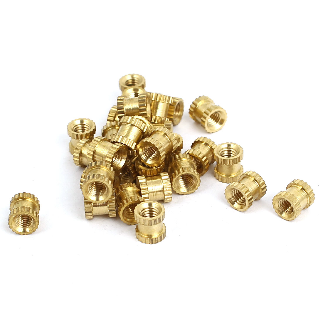 Unique Bargains M3x5mmx5mm Female Threaded Brass Knurled Insert Embedded Nuts Gold Tone 30pcs