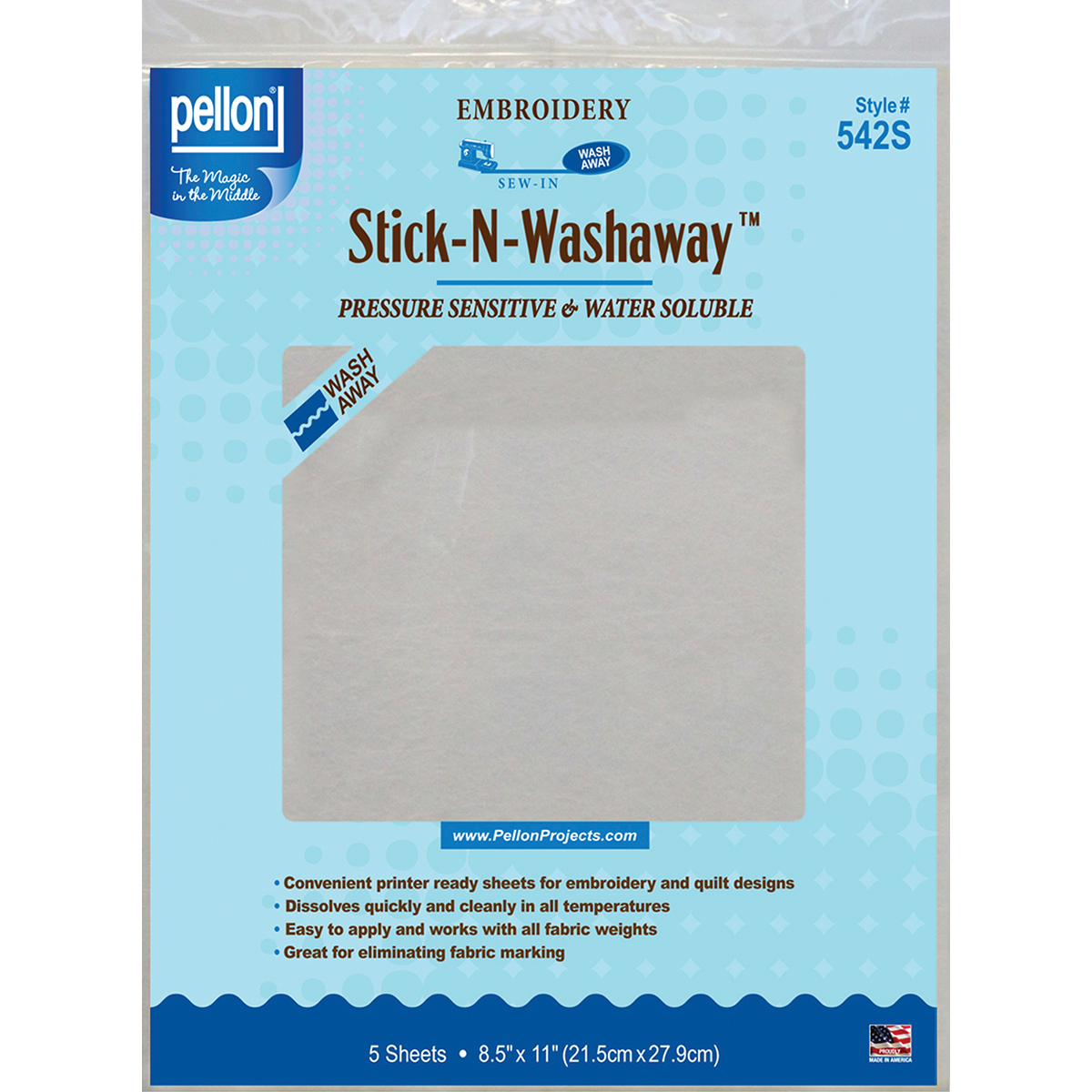 "Pellon Stick-N-Washaway Embroidery Stabilizer 5/Pkg-White 8.5""X11"""