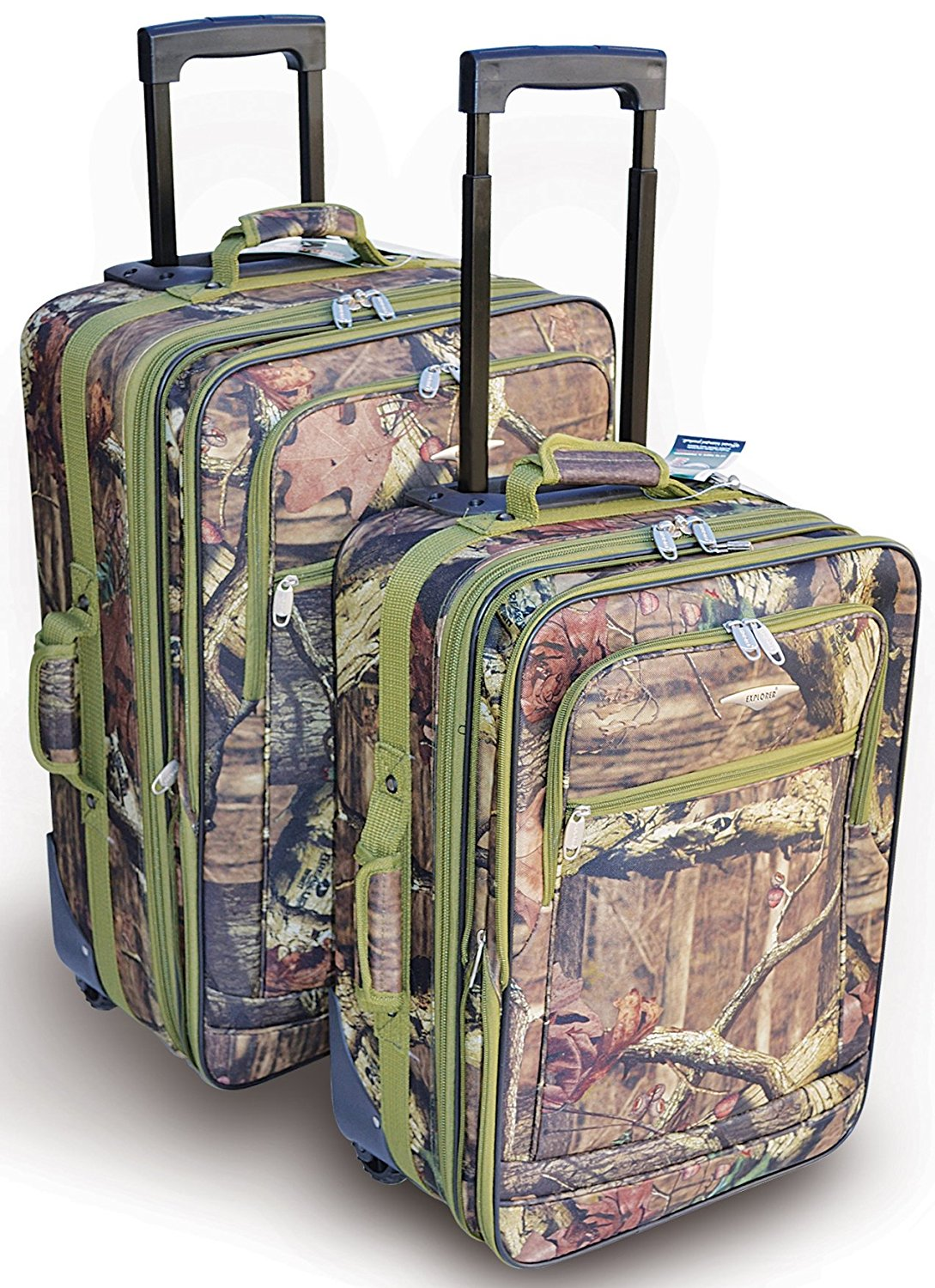 "Explorer Mossy Oak -Realtree Like- Hunting Camo Heavy Duty Luggage with Pulling Handles & 2 Wheels 20"" 24 "" 2... by"