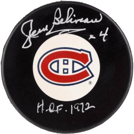 Jean Beliveau Montreal Canadiens Autographed Hockey Puck with HOF 1972 Inscription Fanatics Authentic Certified by